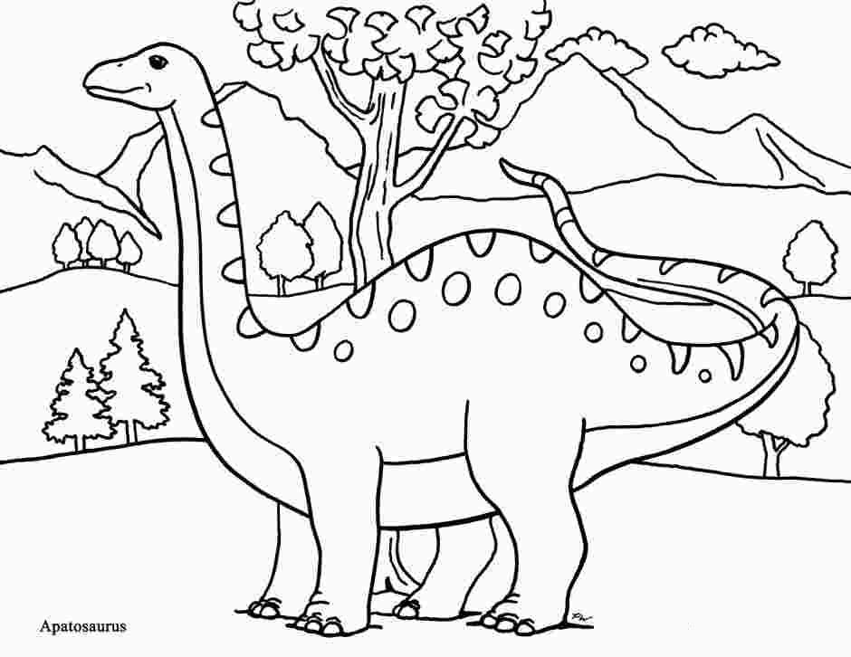 Apatosaurus Dinosaur is looking away Coloring Page