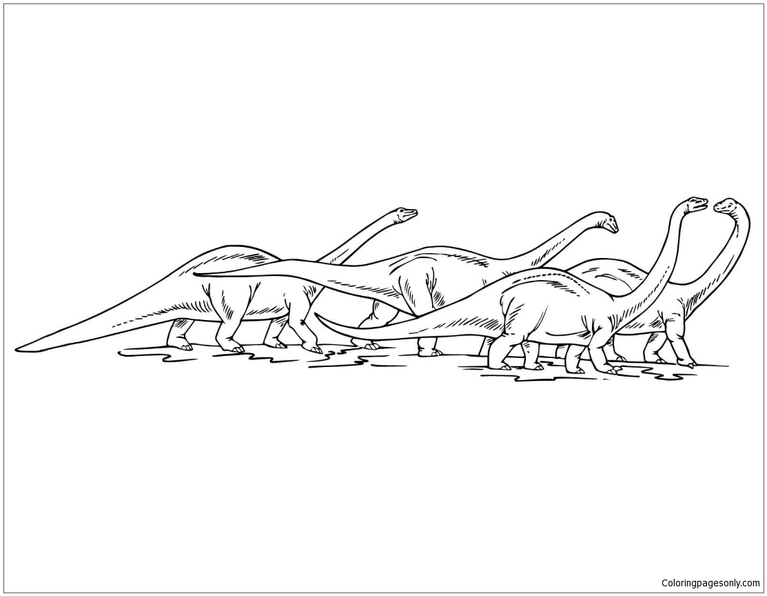 Apatosaurus Herd Coloring Page