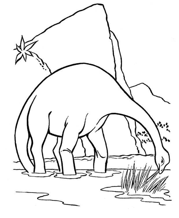 Apatosaurus is eating grass Coloring Page
