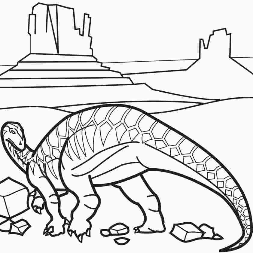 Apatosaurus next to the ancient wall Coloring Page