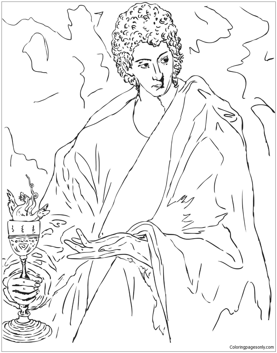 Apostle St. John the Evangelist by El Greco Coloring Pages