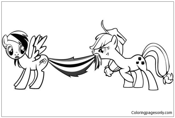 Apple Jack And Rainbow Dash My Little Pony Coloring Page