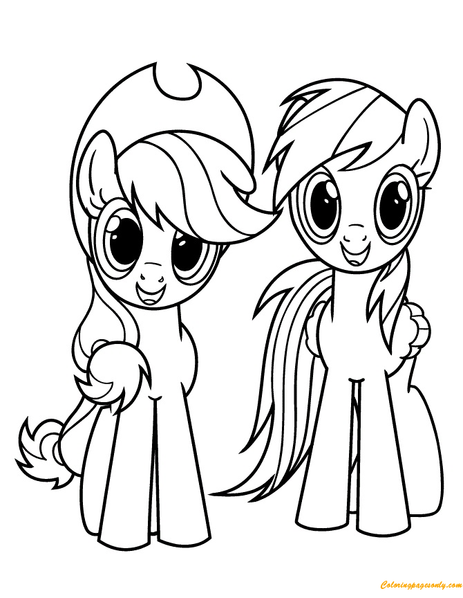 Applejack And Rainbow Dash Coloring Page