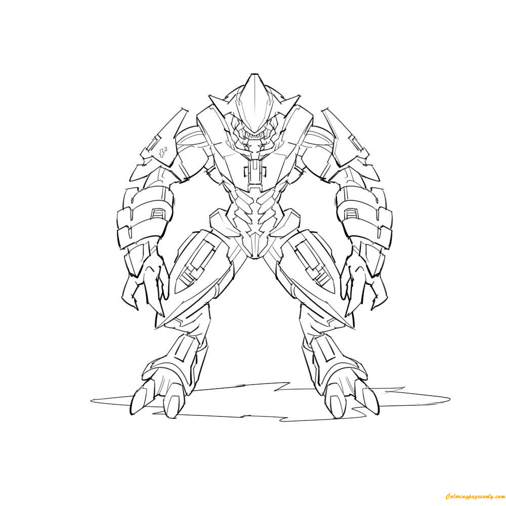 Arbiter from Halo Coloring Page