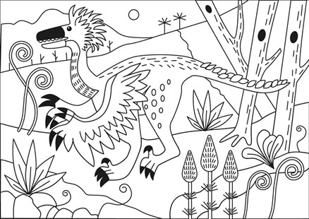 Archaeopteryx Beautiful Picture for kids Coloring Page