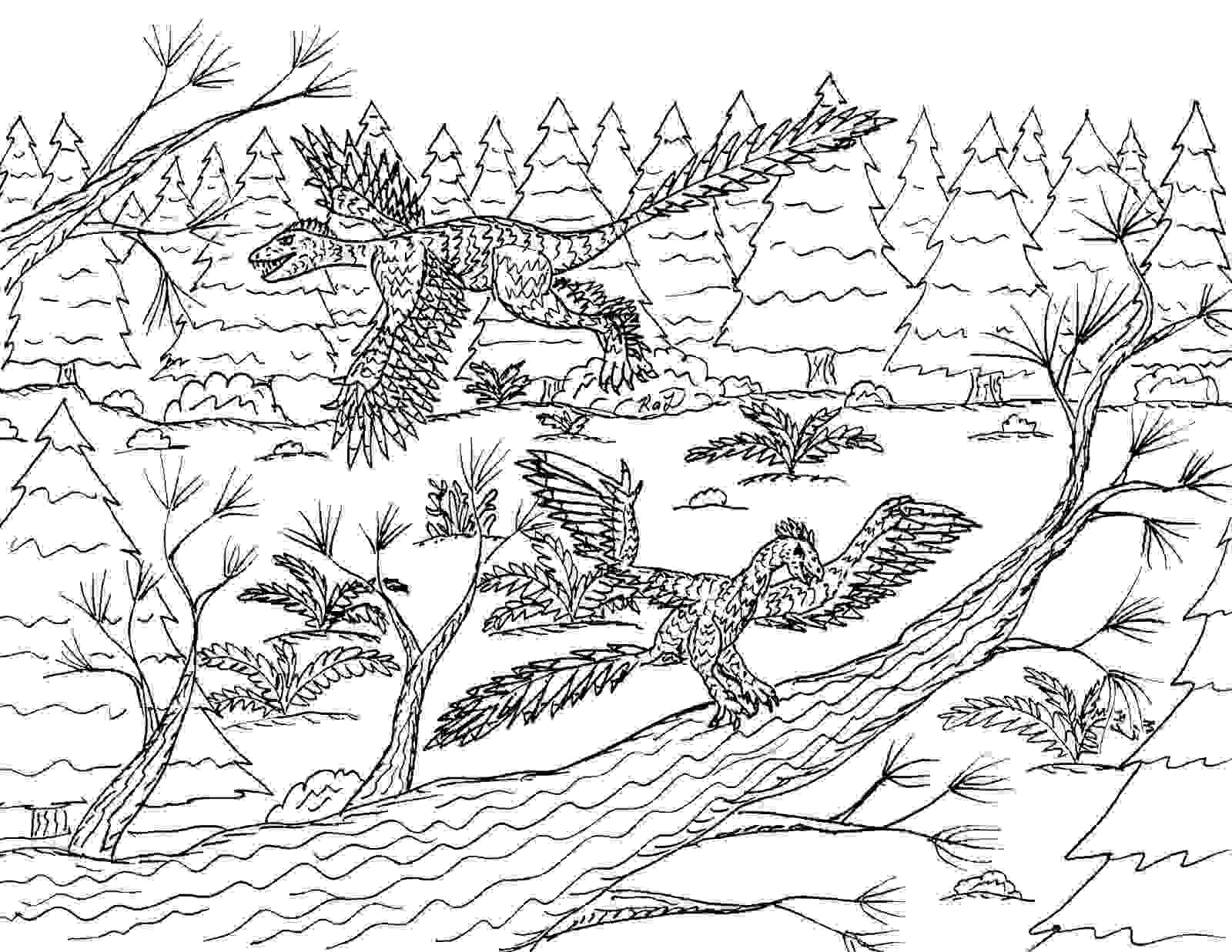 Archaeopteryx Pair in the Forest Coloring Page