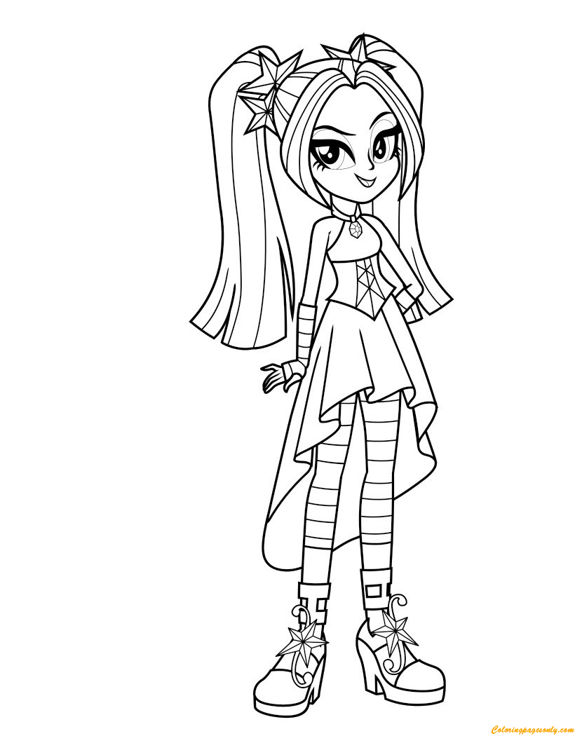 Ausmalbilder My Little Pony Equestria : Aria Blaze From My Little Pony Coloring Page Free Coloring Pages