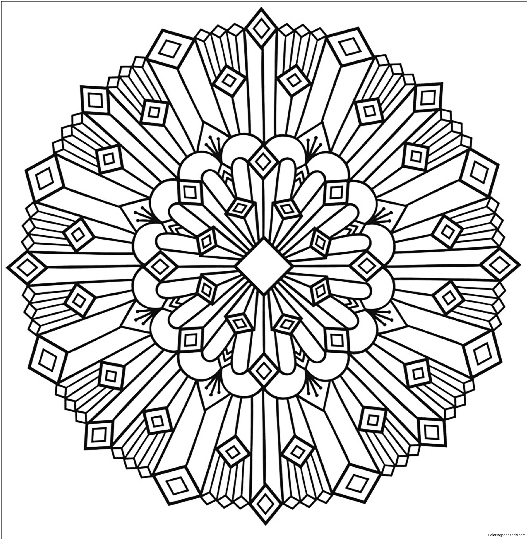 Art Deco Mandala Coloring Page