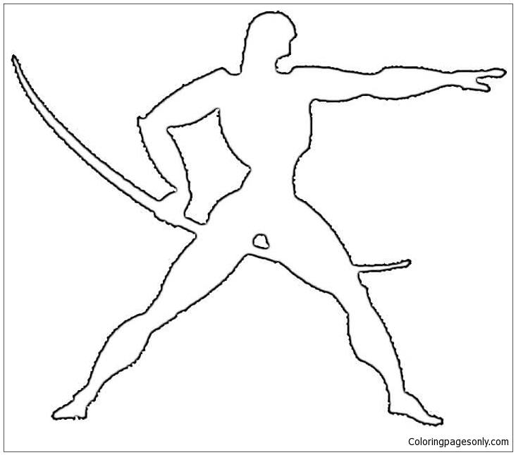 Art Deco Warrior Coloring Page