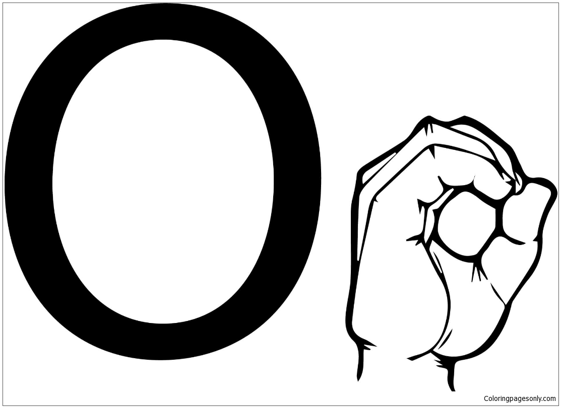 ASL Sign Language Letter O Coloring Page Free Coloring