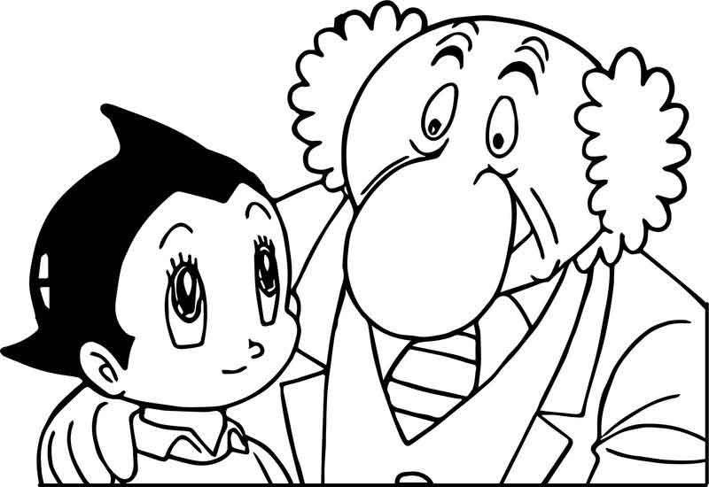 Astro and Professor Hiroshi Ochanomizu from Astro Boy Coloring Page