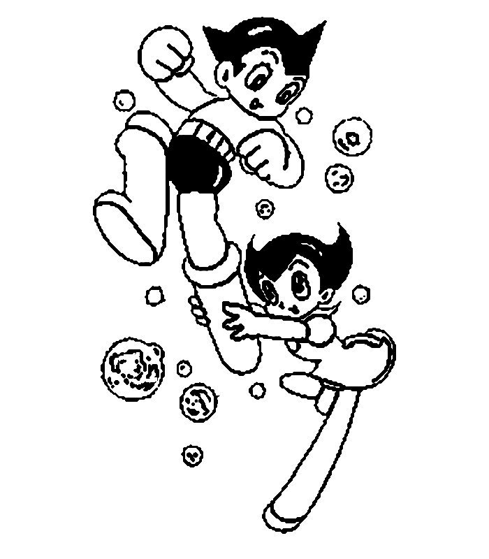 Astro and Uran plays together Coloring Page