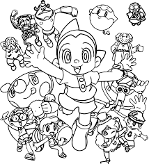 Astro Girl and her friends Coloring Page