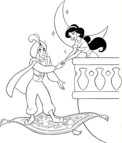 Prince Ali meets Jasmine at night from Aladdin Coloring Page