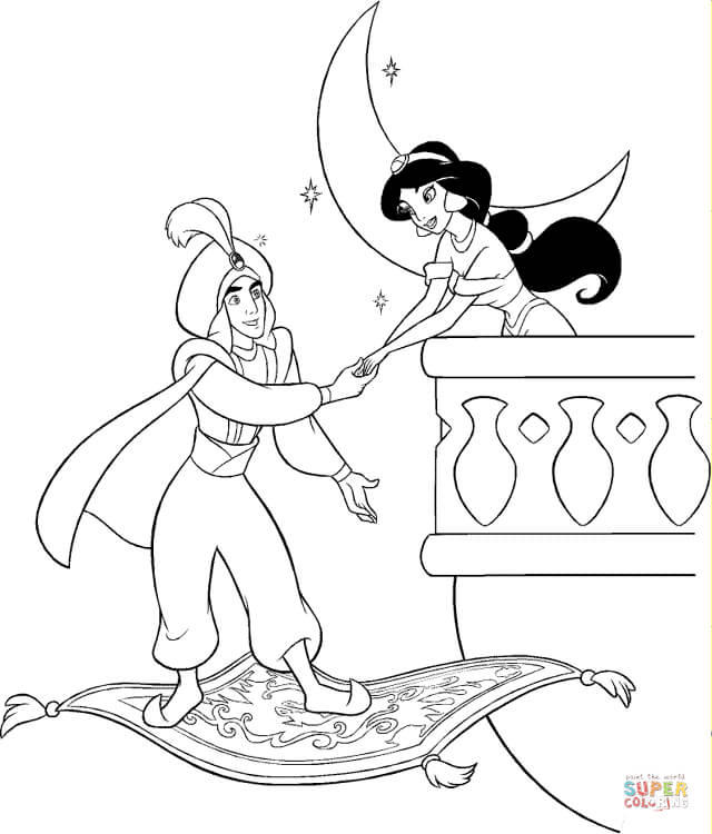 Prince Ali meets Jasmine at night from Aladdin Coloring Page - Free ...