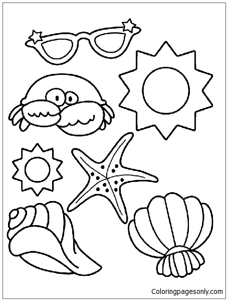 At The Beach Coloring Page