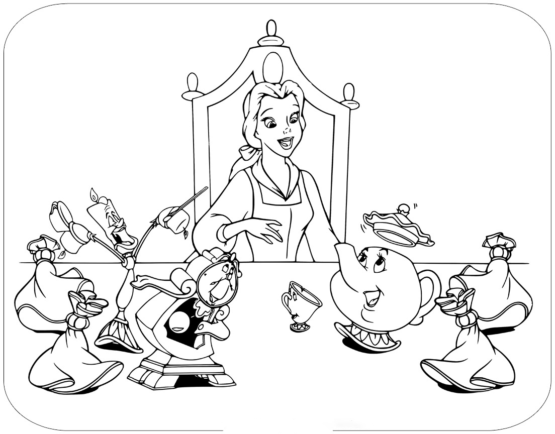At the desk Coloring Page