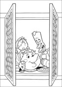 Cogsworth, Lumière and Mrs. Potts at the window  from Beauty and the Beast