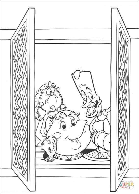 Cogsworth, Lumière And Mrs. Potts At The Window  From Beauty And The Beast Coloring Page