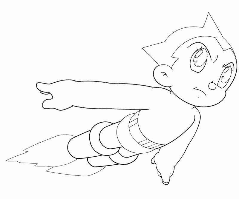 Atom Astro Boy flying in the sky Coloring Page