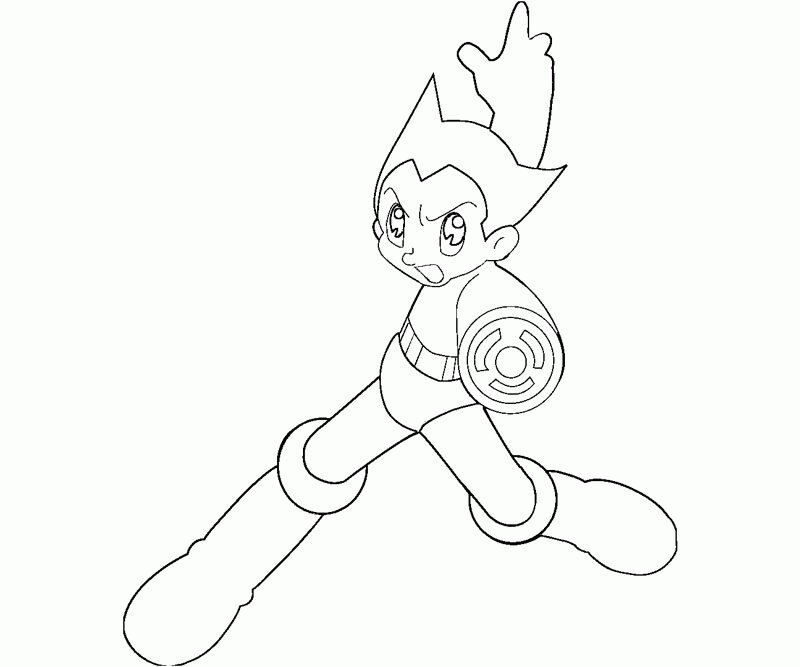 Atom Astro Boy is aiming shot enemy Coloring Page