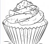 Attractive dessert Cakes Coloring Page