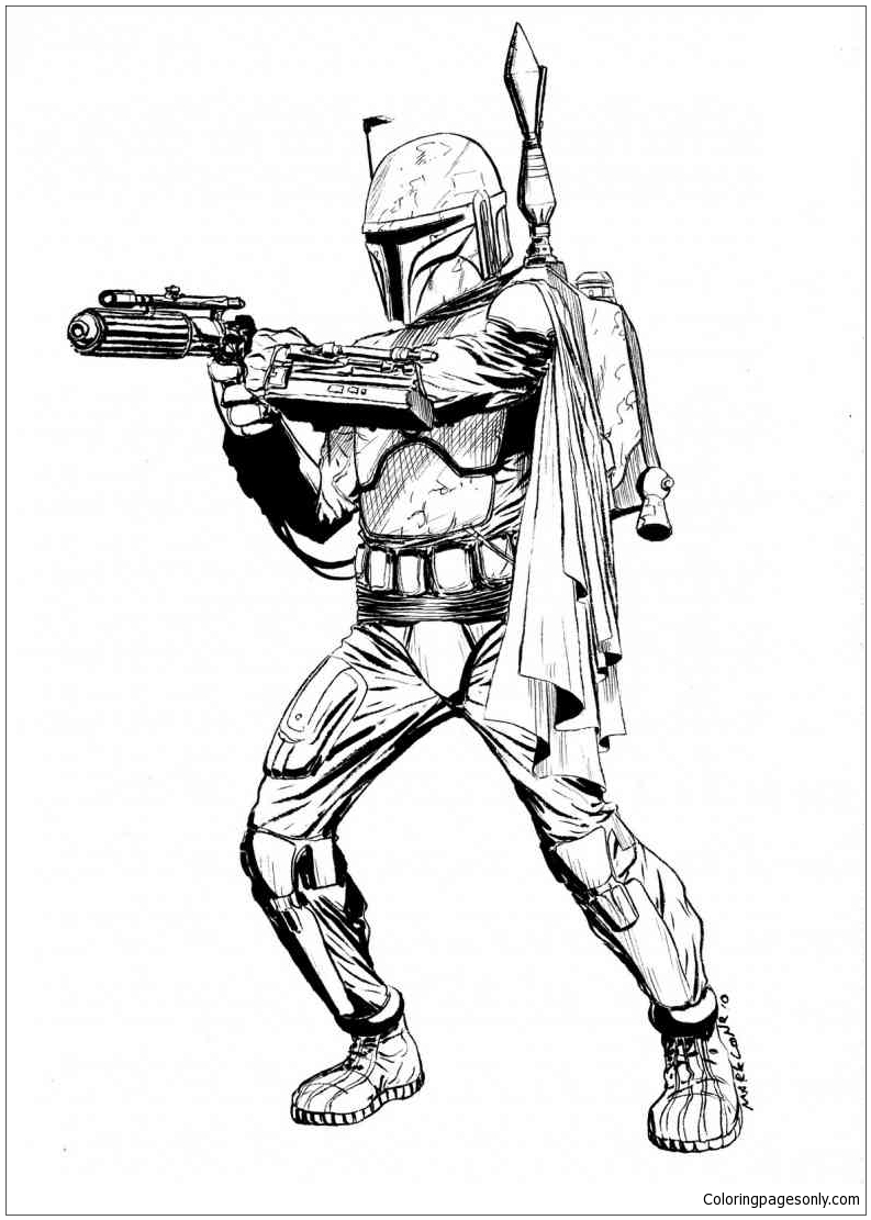 Ausmalbilder Star Wars Boba Fett Coloring Page Free