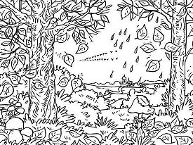 Autumn Fall Leaf In The Forest Coloring Page