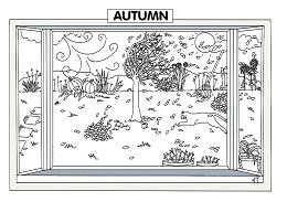 Autumn Scene Coloring Page