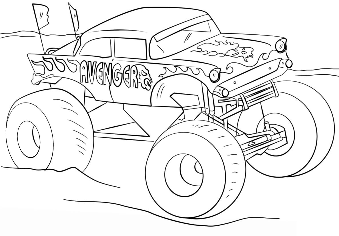 Avenger Monster Truck Coloring Page