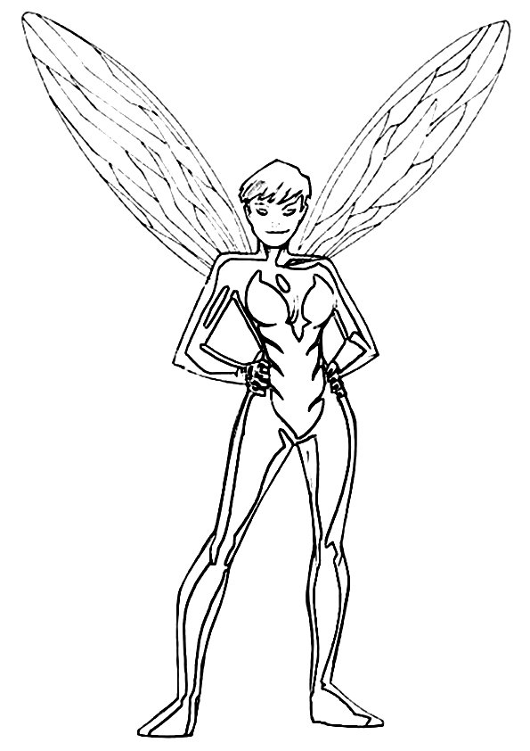 Avengers Team Member The Wasp Coloring Page