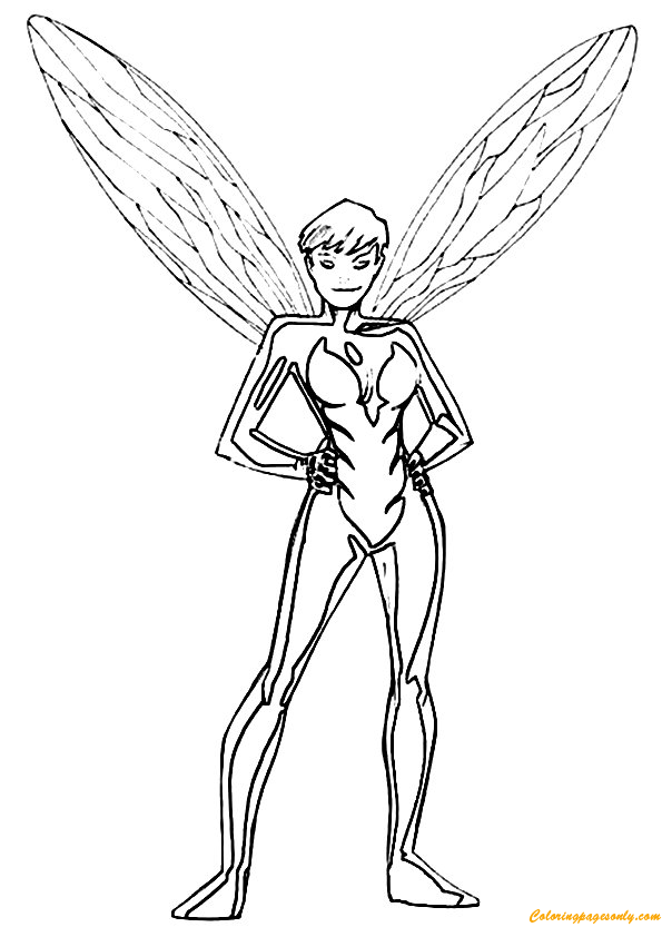 Avengers Team Member The Wasp Coloring Page Free