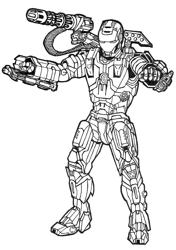 Avengers War Machine Coloring Page