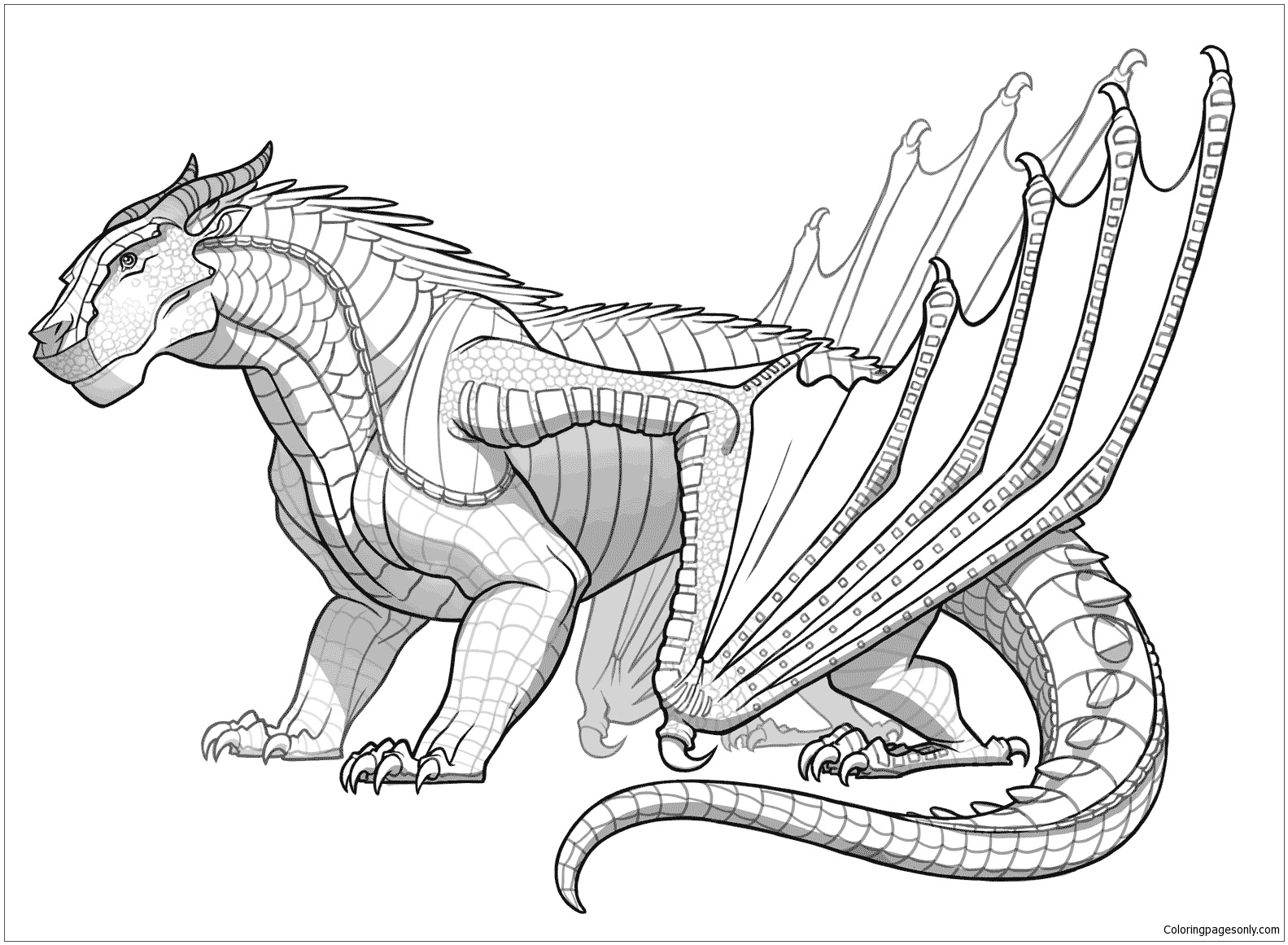 Awesome Mudwing Dragon Coloring Page - Free Coloring Pages Online