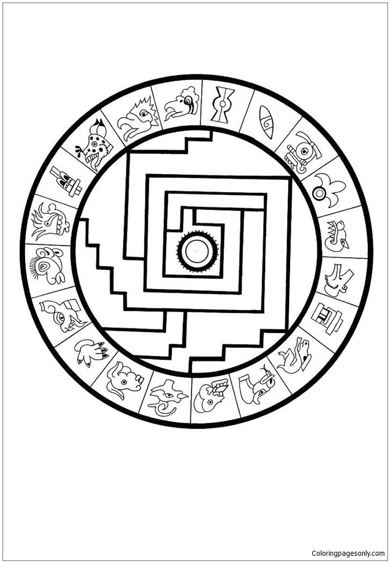 aztec mandala coloring page free coloring pages online