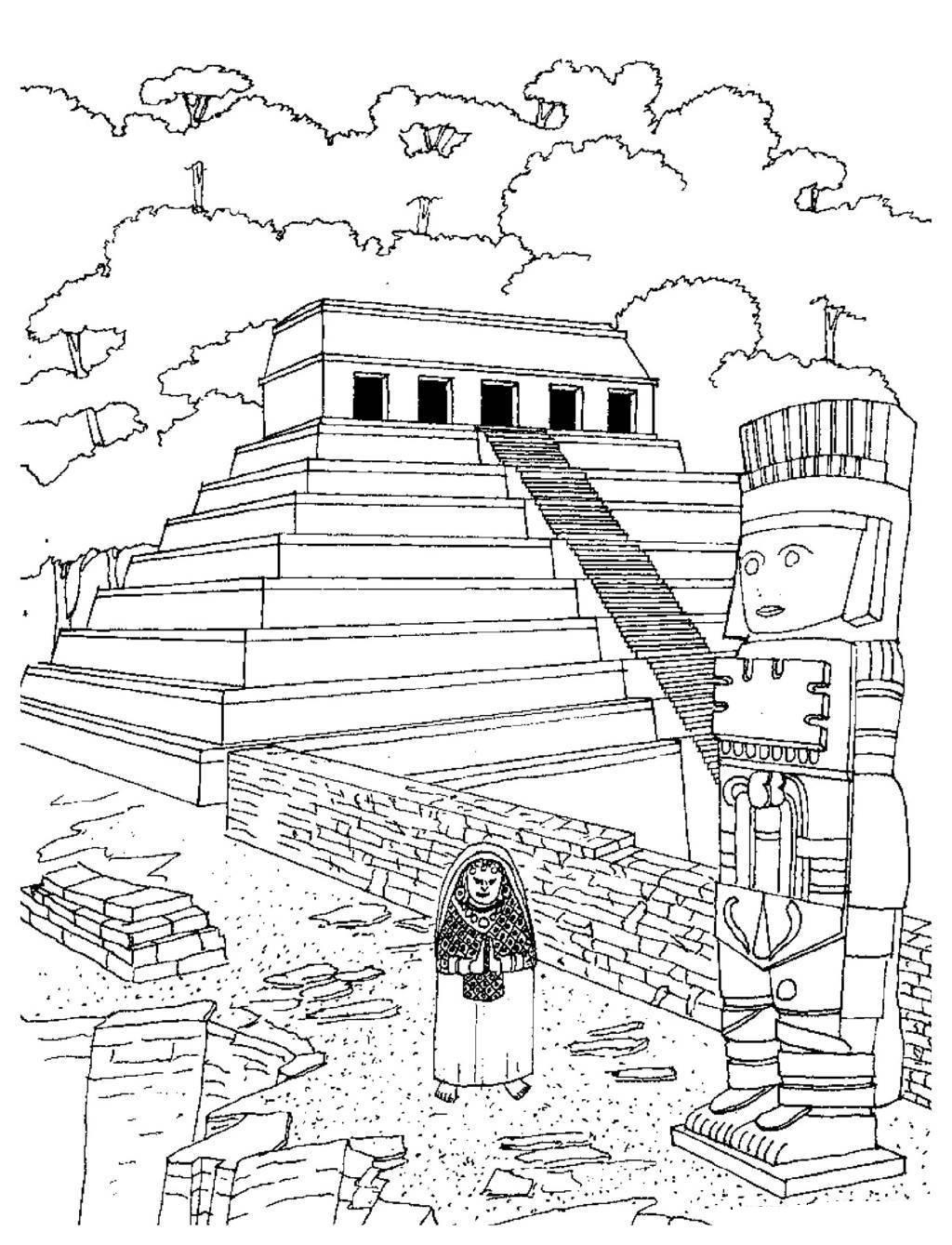 Aztec Temples Coloring Page