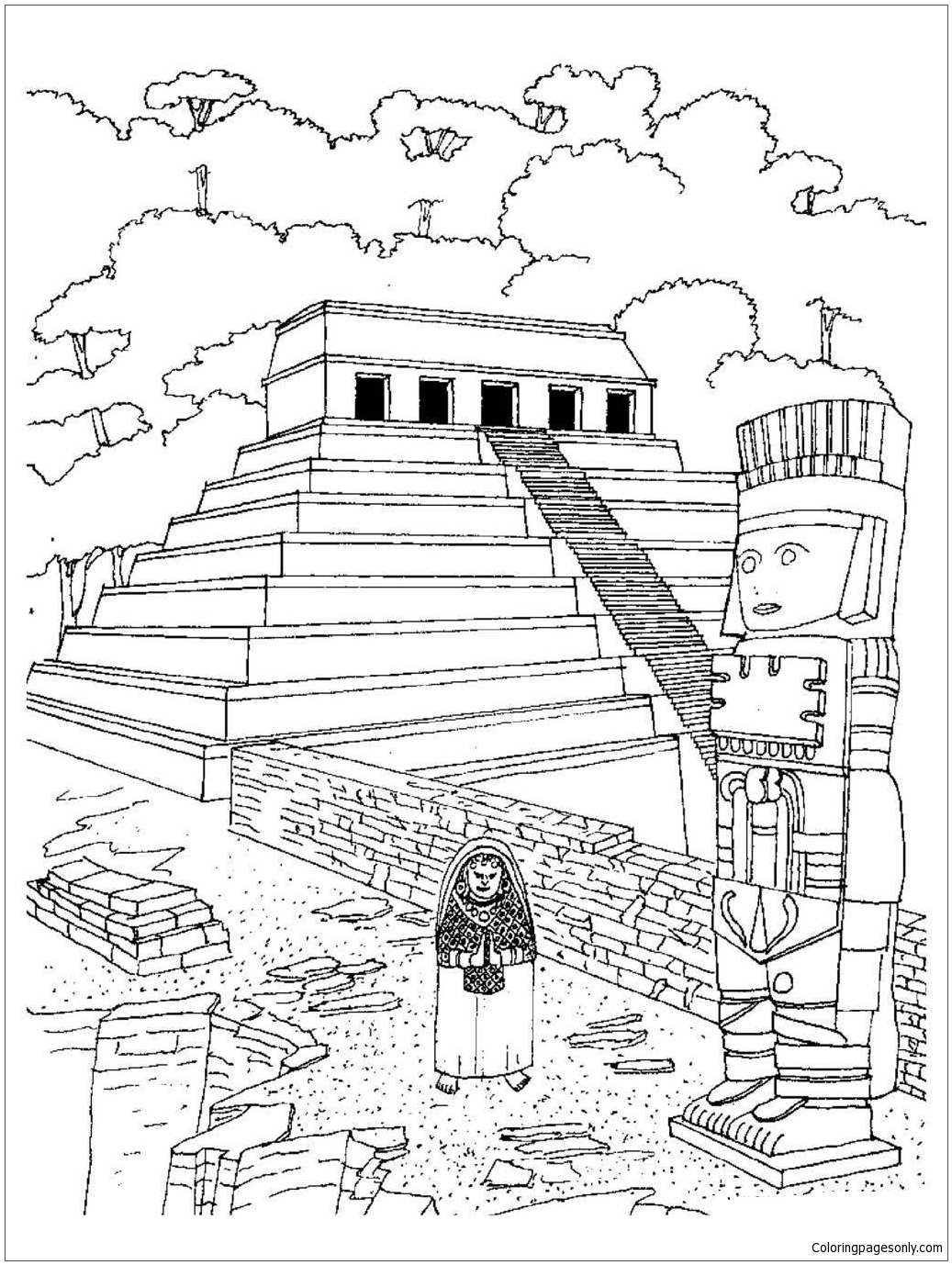 Aztec Temples Coloring Page