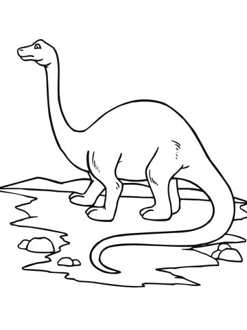 Baby Apatosaur on the pond Coloring Page