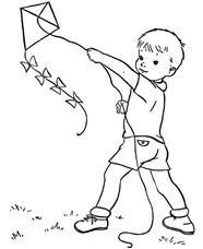 Baby Boy Flying A Kite Coloring Page