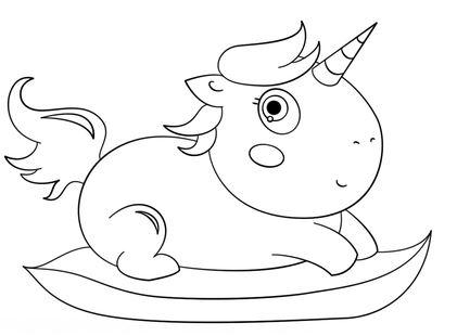 Baby Chibi Unicorn Coloring Page