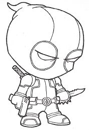 Baby Deadpool Coloring Page