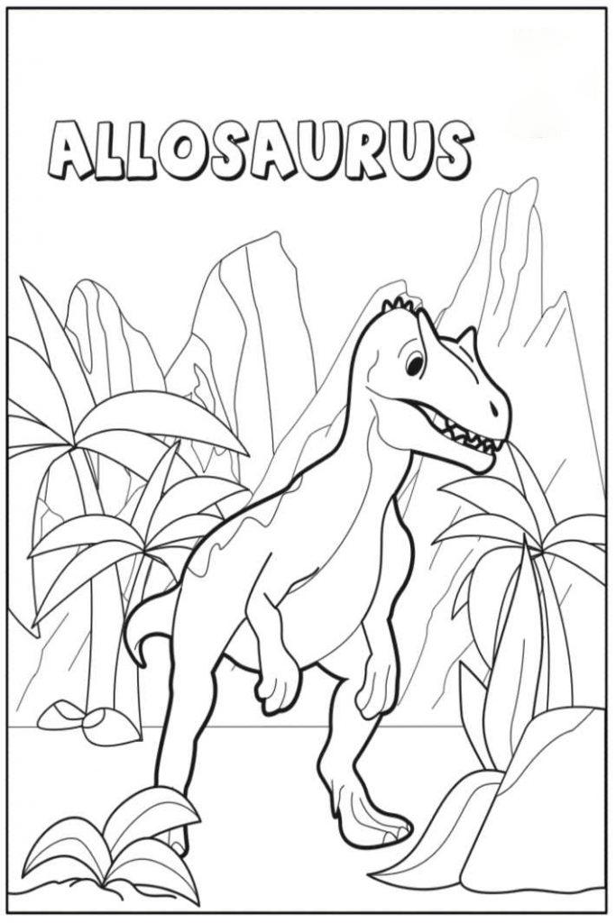 Baby Dinosaurus Allosaurus Coloring Page