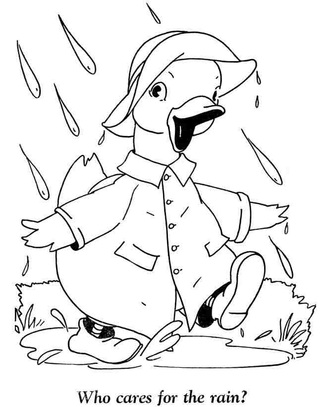 Baby Duck goes to school in the rain Coloring Page