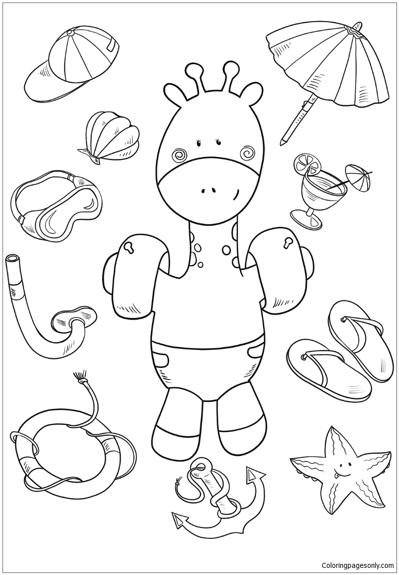 Baby Giraffe On The Beach Coloring Page