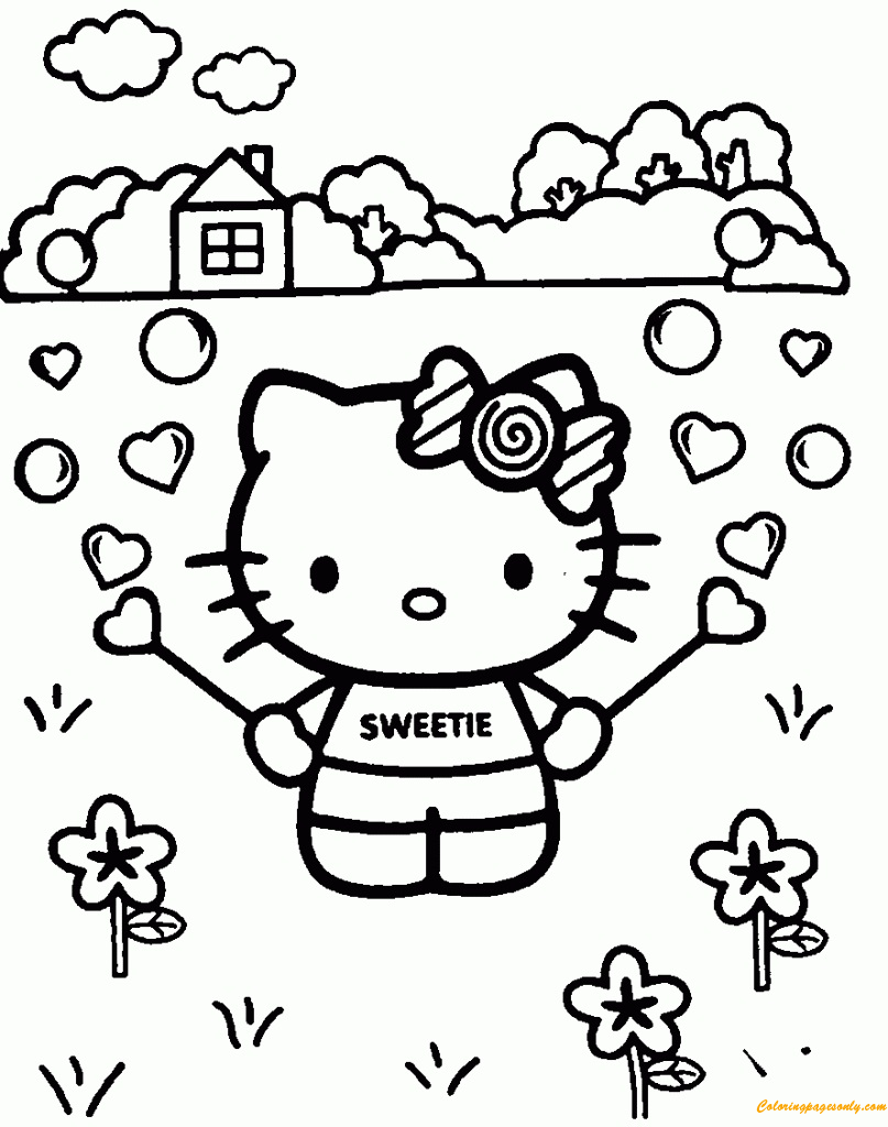 Baby Hello Kitty Coloring Page