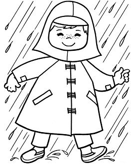 Baby In The Rain Coloring Page