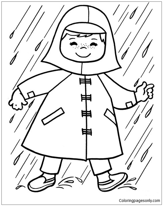 Baby In The Rain Coloring Page Free Coloring Pages Online