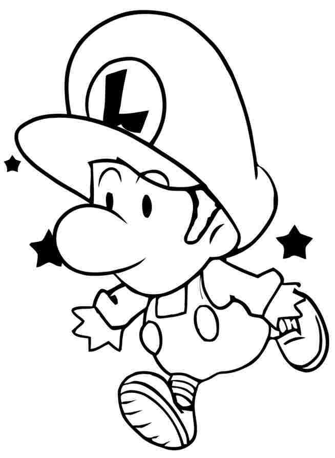 Baby Luigi running Coloring Page