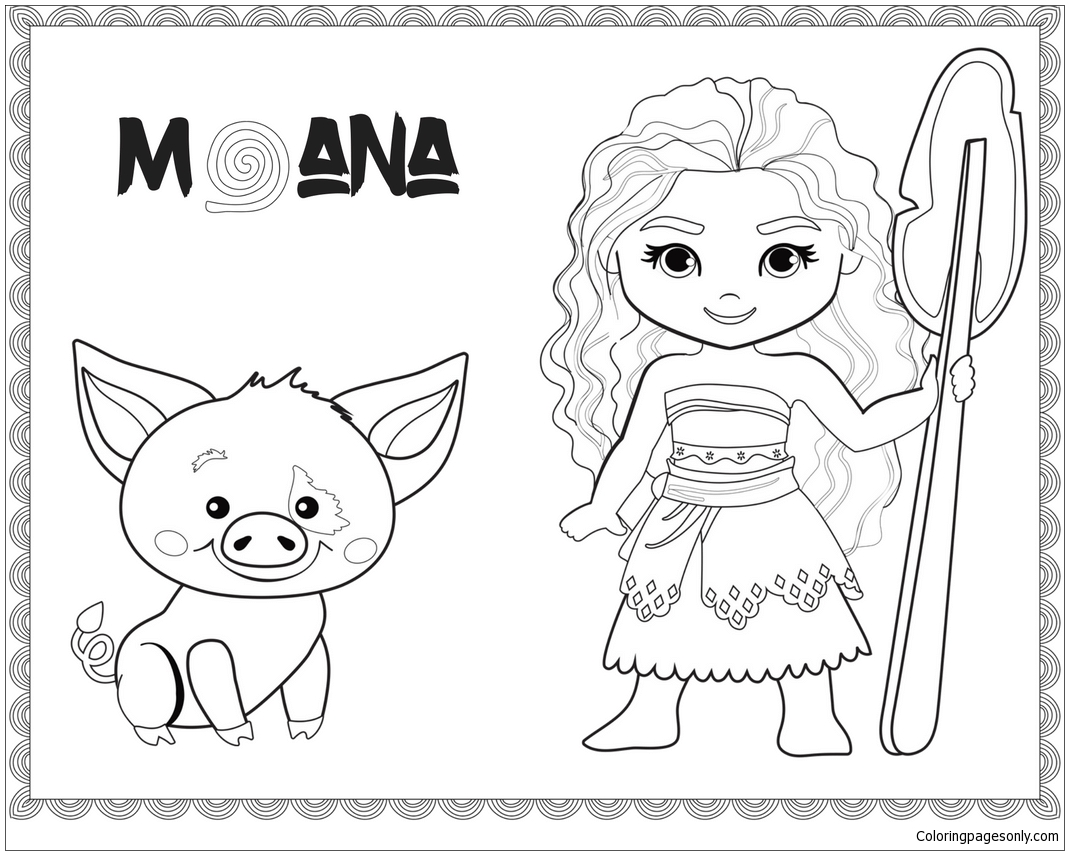 Baby Moana And Pig Pua Coloring Page Free Coloring Pages