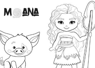 Baby Moana And Pig Coloring Page